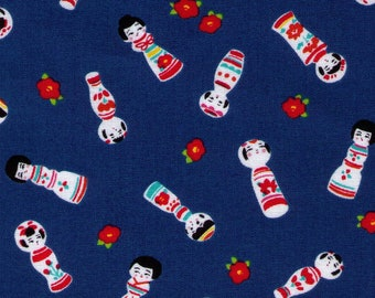 HALF YARD Cosmo Textile - Kokeshi Dolls on BLUE - AP76411 3D - Japanese Import - Red Flower Bud