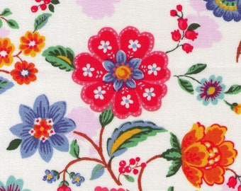 HALF YARD Yuwa - Retro Floral Bright on White- 11-6569 A Atsuko Matsuyama - Flower, Bud, Bouquet, Wild Flower  Japanese Import