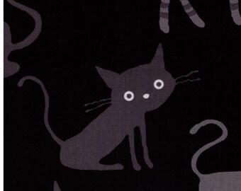 HALF YARD - Coco Land Jumbo Cats on BLACK - Cocoland Kitties - Cotton Oxford - Japanese Import Fabric