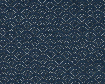 HALF YARD Seigaiha on AQUA Blue - 88222-311 Traditional Geometric Japanese Design - Blue Sea Wave Fans