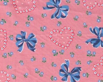 HALF YARD Yuwa - Bows, Hearts and Flowers on Light PINK 826601-D Atsuko Matsuyama 30s collection