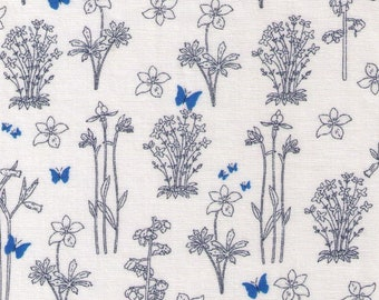 HALF YARD Yuwa - Line Drawing Flower Sketches with BLUE Butterflies 82602-A - Recent Indication - Cotton Quilting - Japan Import