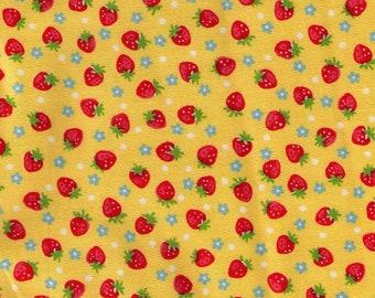 HALF YARD Yuwa - Mini Red Strawberries, Tiny Flowers and Polka Dots on YELLOW  826597-A Atsuko Matsuyama 30s collection