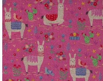 HALF Yard Kokka - Animal World Llamas on Pink - 80 Cotton 20 Linen Canvas - 59070-1B Japanese Import