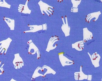 HALF YARD Kokka - Hands and Signs on BLUE - 36010-2B - Body Parts Collection - Sign Language - Japanese Import