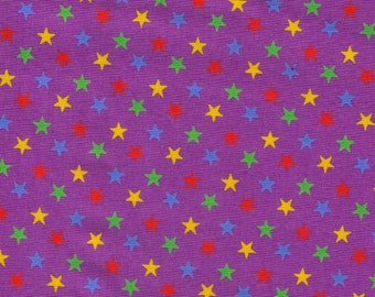 HALF YARD Cosmo Textile - Multi color Stars on Purple  - CR8876 -817 Japanese Import