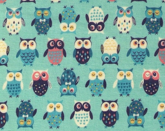 HALF YARD Cosmo Textile - Pygmy World - Mini Owls on Seagreen BLUE - AP1370-7C - Japanese Import