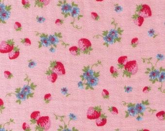HALF YARD Yuwa - Mini Petite Pink Strawberries and Blue Flowers on Pink - Cotton Double Gauze - Atsuko Matsuyama 30s collection 916575