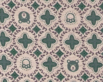 HALF Yard Cosmo - Bear Faces and Paw Prints in Sage - 01917 1A - Japanese Import