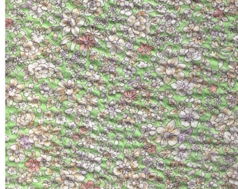 HALF YARD Cosmo Textile - Flowers on Green - Cotton Lawn - Texture like Seersucker Fabric 42506-1E - Japanese Import