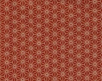 HALF YARD Asanoha on Ochre - 88222-212 - Traditional Geometric Diamond Japanese Design - Hemp Plant Design