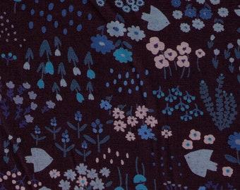 HALF YARD - Kokka - Hokkori Life Flowers and Birds on Midnight / Twilight - 26020-2C Cotton Poplin - Japanese Import