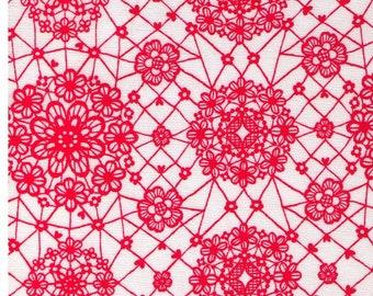 HALF YARD Yuwa - Sweet Red Lace on White 6533 F Atsuko Matsuyama - Japanese Import