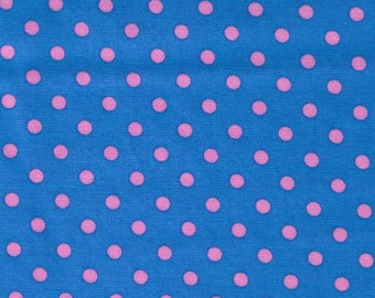 HALF YARD Cosmo Textile - Pink Small Polka Dots on Blue CR8876-214 - Japanese Import Fabric