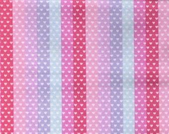 HALF YARD Kokka Pastel Pop - Tiny Heart Strips Rainbow - Pink Stripe Colorway 76040-1A - Valentine - Japanese Import