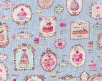 Half Yard YUWA - Paris French Patisserie on BLUE Sweets Rondeaux 156134-C- OXFORD - Reduced size Print -  Éclair, Macarons, Palmier, Tart
