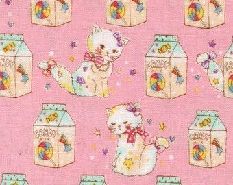 HALF YARD - Fancy Pop - Kokka - Twinkle Cat - Pink 21060-2B - Cotton Sheeting - Kitten, Kitty, Milk Carton, Candy, Jewelry, Bow, Lolita
