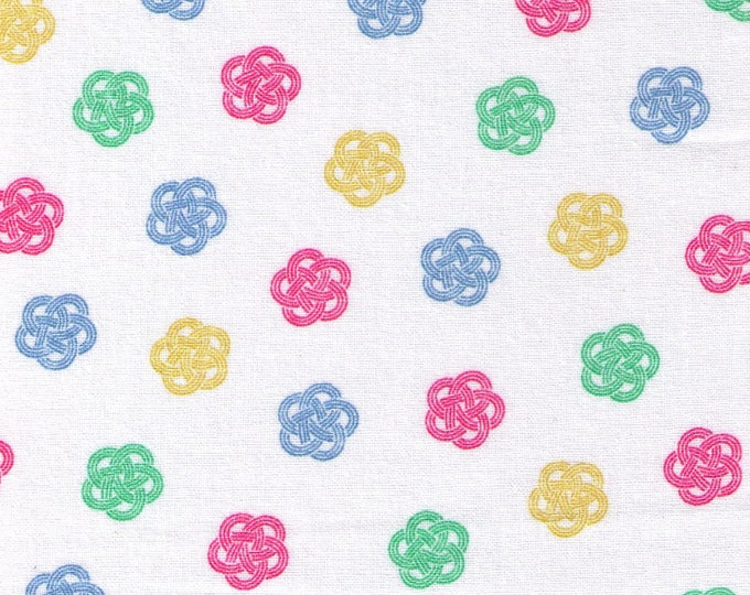HALF YARD Cosmo Textile - Ume knot Traditional Print on WHITE AP1350 52A - Japanese Import - Decorative Rope Tying