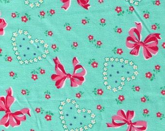 HALF YARD Yuwa - Bows, Hearts and Flowers on Aqua Green 826601-C Atsuko Matsuyama 30s collection