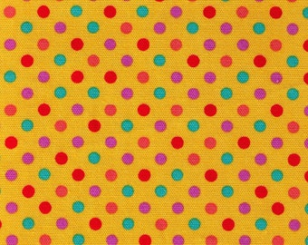 HALF YARD - Lecien - Color Basic - 4600-YZ  Multi-color Medium Dots on Yellow Cotton Oxford - Purple, Red, Teal, Orange - Japanese Import