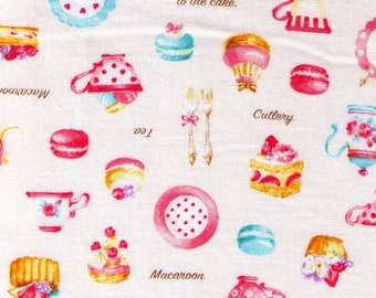 HALF YARD Cosmo Textile - Petite Patisserie Mix on CREAM - AP76408-2A - Pastry, Tea, Macaron, Cake, Cafe, Plate  - Japanese Import