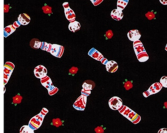 HALF YARD Cosmo Textile - Kokeshi Dolls on BLACK - AP76411 3E - Japanese Import - Red Flower Bud