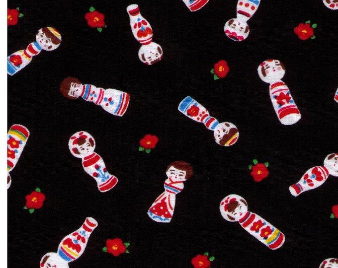 HALF YARD Cosmo Textile - Kokeshi Dolls on BLACK - AP76411 3E - Japanese Import - Red Flower Bud