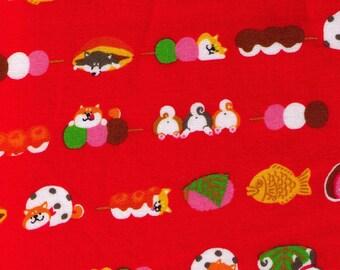 HALF YARD Cosmo Textile - Shiba Inu and Sweets on RED - 5404-2C - Wagashi, Mochi, Dango, Dorayaki, Daifuku, Dog, Puppy, Strawberry