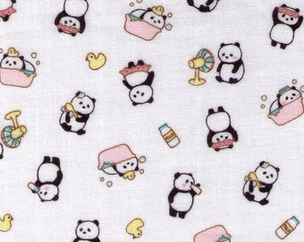 HALF YARD Cosmo Textile - Panda Bath and Bed Time on WHITE Double Gauze - AP76304 1A - Clean, Dirty, Rubber Ducky Tub, Milk, Wash - Japanese