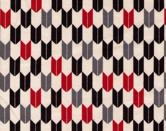 """End of Bolt - 8"""" Cut - Cosmo Textile - Yabane in Black, Red, Grey on Natural AP1350 41E  - Traditional Japanese - Yagasuri Fletching Arrow"""