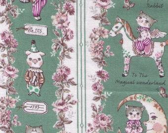 HALF YARD Yuwa - Sobakasu Kids - Magical Wonderland in Green - Bunny, Dog, Cat - Horse, Moon, Lullaby, Circus, Rabbit - Quilting Cotton