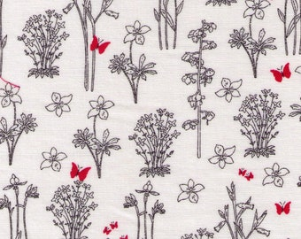 HALF YARD Yuwa - Line Drawing Flower Sketches with RED Butterflies 82602-B - Recent Indication - Cotton Quilting - Japan Import