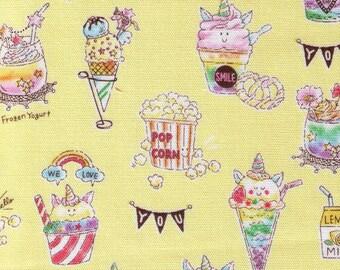 HALF YARD Kokka - Petite Unicorn Desserts on Yellow -  LOA49020-2D -  Rainbow, Pastry, Tea, Macaron, Cake, Cafe, Plate  - Japanese Import