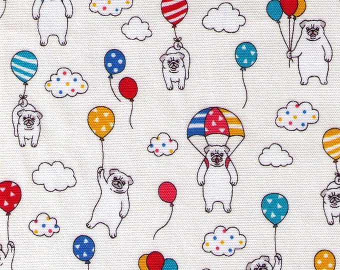 Featured listing image: HALF YARD - Westex - Parachuting Pugs on Ivory WS28047-1A - Oxford - Balloon, Cloud, Dog