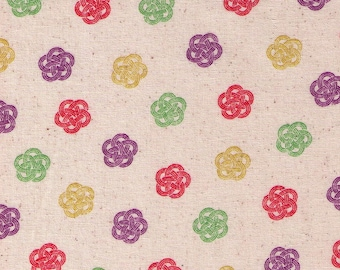 HALF YARD Cosmo Textile - Ume knot Traditional Print on NATURAL AP1350 52B - Japanese Import - Decorative Rope Tying