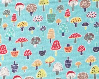 HALF YARD Cosmo Textile - Pygmy World - Mini Mushrooms on BLUE - AP1370-6C - Japanese Import