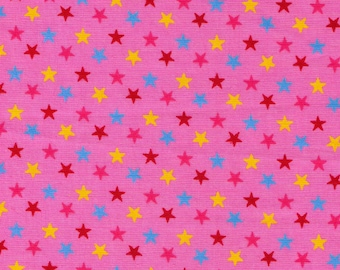 HALF YARD Cosmo Textile - Multi color Stars on Pink - CR8876-816 - Japanese Import