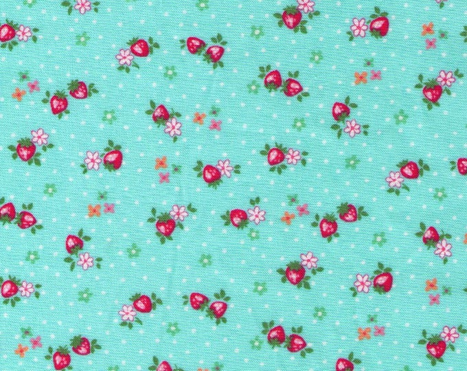 HALF YARD Yuwa - Petit Berry on Blue - Atsuko Matsuyama 826346-B - Mini Petite Red Strawberries Pink Flowers - Japanese Import Fabric