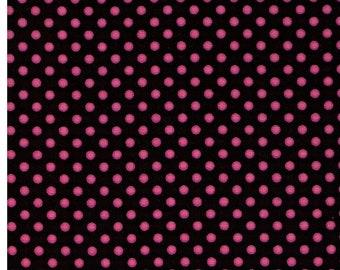 HALF YARD - Lecien - Color Basic - 4505-BKP  Pink Mini Dots on Black - Japanese Import Fabric