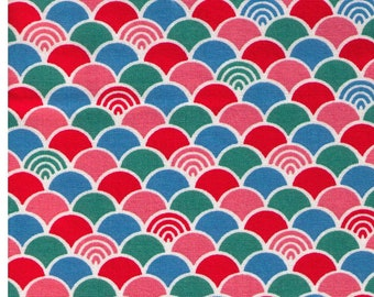 HALF YARD Cosmo Textile - Seigaiha Traditional Print in Pink, Red, Green, Blue on Natural AP1350 51B  - Japanese Import
