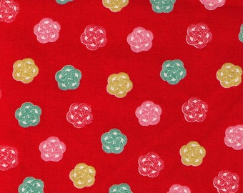 HALF YARD Cosmo Textile - Ume knot Traditional Print on RED AP1350 52D - Japanese Import - Decorative Rope Tying