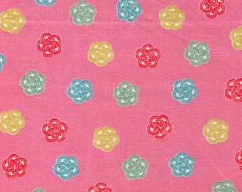 HALF YARD Cosmo Textile - Ume knot Traditional Print on PINK AP1350 52C - Japanese Import - Decorative Rope Tying