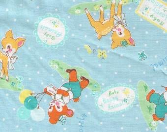 HALF YARD Yuwa - Lovely Animals on BLUE - 826599-D - Atsuko Matsuyama 30s -Baby Deer, Bear, Bunny, Lamb, Balloons, Garden