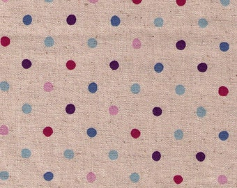 HALF YARD Sevenberry - Pink, Blue, and Purple Polka Dot on Natural - 100% Cotton - Japanese Import