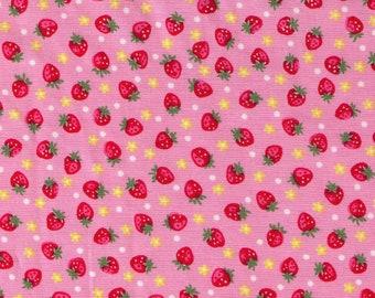 HALF YARD Yuwa - Mini Red Strawberries, Tiny Flowers and Polka Dots on Pink  826597-B - Atsuko Matsuyama 30s collection