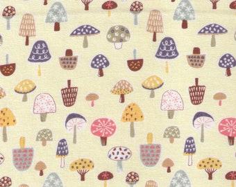 HALF YARD Cosmo Textile - Pygmy World - Mini Mushrooms on Pale YELLOW - AP1370 6A - Japanese Import