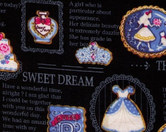 HALF YARD - Snow White and the Seven Dwarfs on BLACK - Photo Realistic Sugar Cookies and Text - 36010-2D Huntsman, Red Rose, Evil Queen