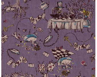 HALF YARD Yuwa - Alice in Wonderland on PURPLE -  - Miyako Kawaguchi - Cotton Linen Canvas -