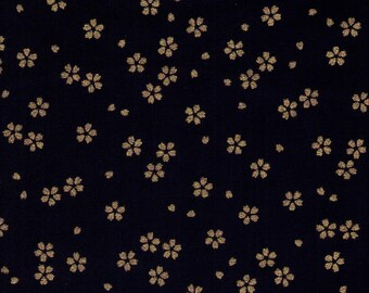 HALF YARD - Gold Metallic Sakura on Navy Indigo -  88337-14 - Cotton Sheeting - Traditional Geometric Cherry Blossom Japanese