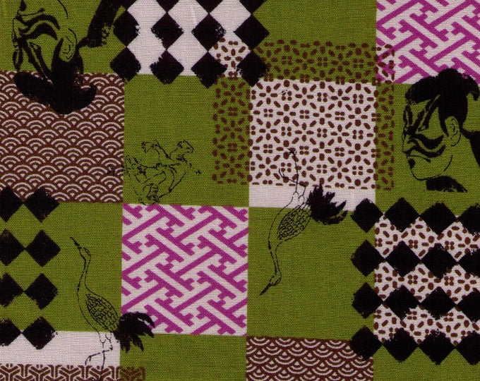 HALF YARD Sevenberry - Samurai, Monkey and Crane Cheater - Green, Purple, Black - Japanese Import